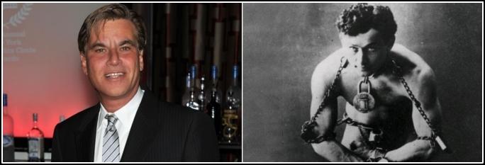 O dramaturgo Aaron Sorkin  e o ilusionista Harry Houdini