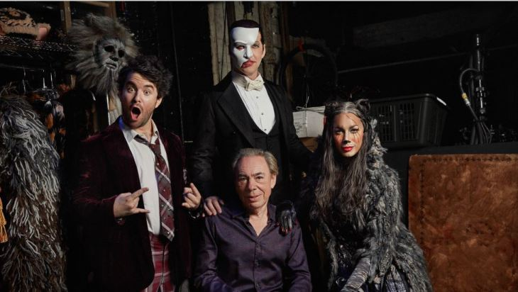 Andrew Lloyd Webber com Alex Brightman, James Barbour, e Leona Lewis (FOTO:Nathan Johnson)