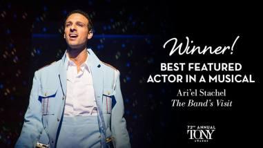 """Ari'el Stachel - melhor ator coadjuvante em um musical pela atuação em """"The Band's Visti"""""""