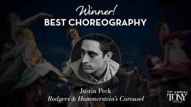 """Justin Peck fatura o prêmio de melhor coreografia por seu trabalho no musical """"Carousel"""""""