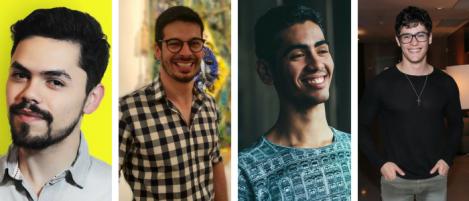 """Os produtores associados de """"Once On This Island"""": Caio Loki, Alexandre Bissoli, George Luís Prata eJúlio Oliveira"""