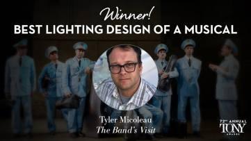 """Tyler Micoleau recebe o Tony de melhor iluminação em um musical pelo trabalho em """"The Band's Visit"""""""