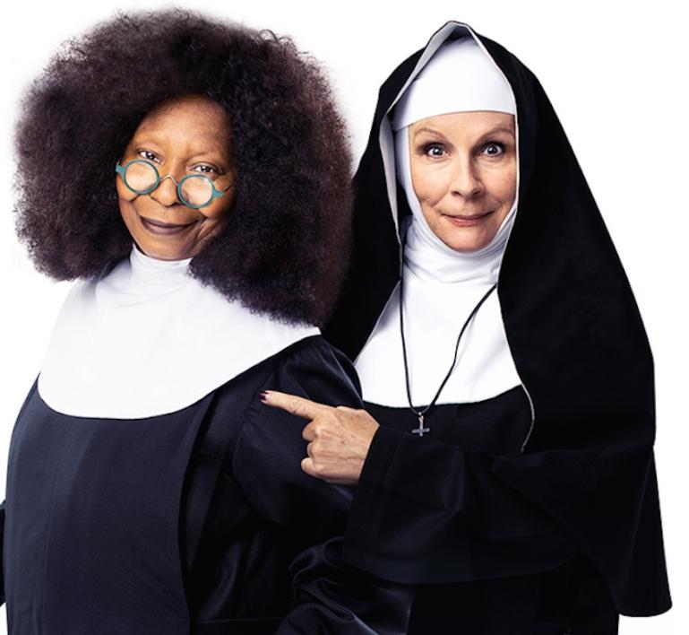 Whoopi Goldberg e Jennifer Saunders caracterizadas como Deloris e Madre Superiora